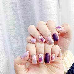 方圆形紫色晕染磨砂全国连锁日式学校学美甲加微信:mjbyxs15美甲图片