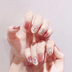 圆形粉色银色手绘花朵水波纹全国连锁日式学校学美甲加微信:mjbyxs15美甲图片