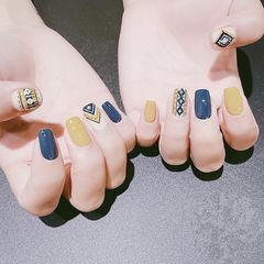 方圆形黄色蓝色手绘全国连锁日式学校学美甲加微信:mjbyxs15美甲图片