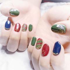 圆形红色绿色蓝色手绘跳色全国连锁日式学校学美甲加微信:mjbyxs15美甲图片