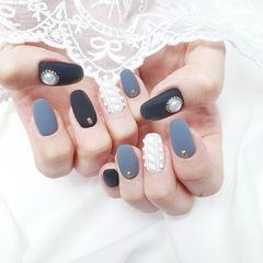 圆形灰色黑色白色毛衣纹珍珠磨砂全国连锁日式学校学美甲加微信:mjbyxs15美甲图片
