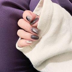 圆形灰色白色晕染全国连锁日式学校学美甲加微信:mjbyxs15美甲图片