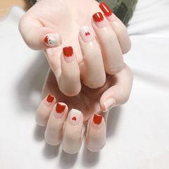 方圆形红色裸色手绘圣诞圆法式心形美甲图片
