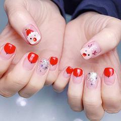 方圆形红色银色手绘圣诞圆法式亮片全国连锁日式学校学美甲加微信:mjbyxs15美甲图片