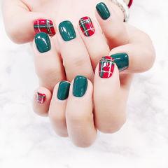 方圆形红色绿色格纹全国连锁日式学校学美甲加微信:mjbyxs15美甲图片