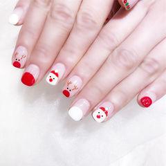 方圆形红色白色手绘圣诞圆法式全国连锁日式学校学美甲加微信:mjbyxs15美甲图片