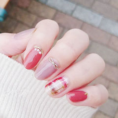 圆形红色粉色蝴蝶结格纹全国连锁日式学校学美甲加微信:mjbyxs15美甲图片