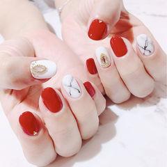 圆形红色白色晕染石纹钻全国连锁日式学校学美甲加微信:mjbyxs15美甲图片