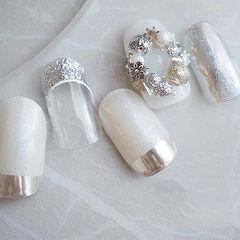 圆形白色银色魔镜粉法式饰品圣诞美甲图片