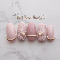 圆形粉色手绘花朵毛呢珍珠美甲图片