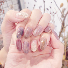 圆形紫色裸色粉色晕染碎玻璃全国连锁日式学校学美甲加微信:mjbyxs15美甲图片