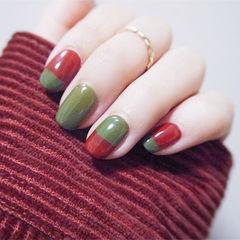 方圆形红色绿色圣诞美甲图片