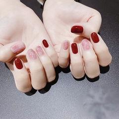 圆形红色粉色晕染新娘全国连锁日式学校学美甲加微信:mjbyxs15美甲图片