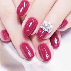 圆形红色钻珍珠新娘全国连锁日式学校学美甲加微信:mjbyxs15美甲图片