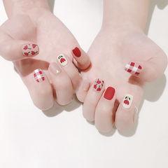 方圆形红色粉色手绘花朵格纹磨砂全国连锁日式学校学美甲加微信:mjbyxs15美甲图片