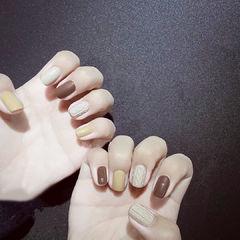 方圆形黄色棕色裸色毛衣纹跳色磨砂全国连锁日式学校学美甲加微信:mjbyxs15美甲图片