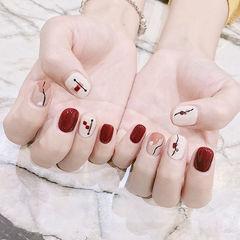 方圆形红色白色手绘简笔画短指甲美甲图片