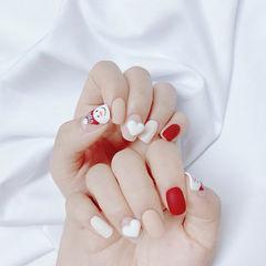 方圆形裸色红色心形雕花磨砂圣诞美甲图片