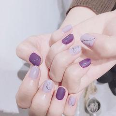 圆形紫色手绘简笔画磨砂全国连锁日式学校学美甲加微信:mjbyxs15美甲图片