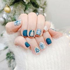 方圆形蓝色白色手绘圣诞格纹全国连锁日式学校学美甲加微信:mjbyxs15美甲图片