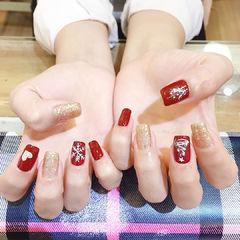 方圆形红色金色雪花圣诞全国连锁日式学校学美甲加微信:mjbyxs15美甲图片