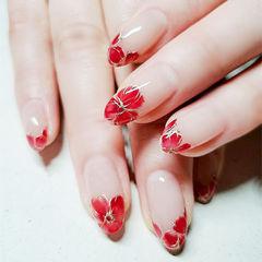 圆形红色手绘花朵法式新娘全国连锁日式学校学美甲加微信:mjbyxs15美甲图片