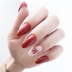 圆形红色手绘蝴蝶结新娘全国连锁日式学校学美甲加微信:mjbyxs15美甲图片