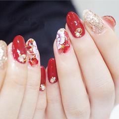 圆形红色银色白色手绘花朵新娘全国连锁日式学校学美甲加微信:mjbyxs15美甲图片
