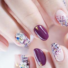 圆形紫色手绘毛呢钻珍珠全国连锁日式学校学美甲加微信:mjbyxs15美甲图片