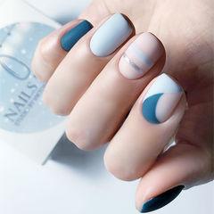 方圆形蓝色裸色手绘线条磨砂全国连锁日式学校学美甲加微信:mjbyxs15美甲图片