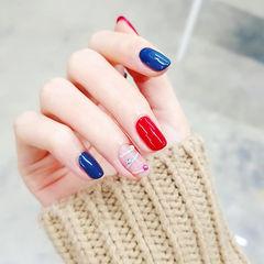 方圆形红色蓝色线条跳色美甲图片