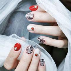 圆形红色白色手绘毛呢珍珠全国连锁日式学校学美甲加微信:mjbyxs15短指甲美甲图片