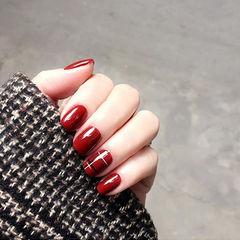 方圆形红色格纹新年显白美甲图片