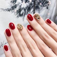 圆形红色钻新娘新年全国连锁日式学校学美甲加微信:mjbyxs15美甲图片