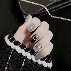 方圆形黑色灰色手绘毛呢美甲图片