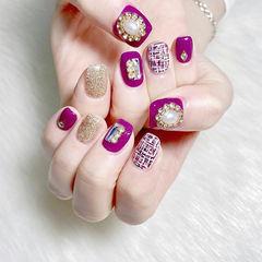 方圆形紫色银色毛呢珍珠美甲图片