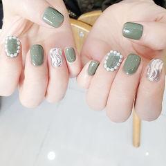 方圆形绿色银色水波纹珍珠全国连锁日式学校学美甲加微信:mjbyxs15美甲图片