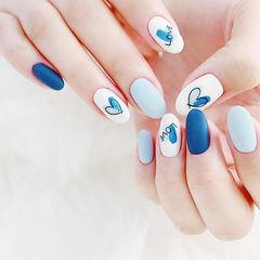 圆形蓝色白色手绘心形磨砂美甲图片