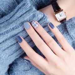 圆形蓝色毛衣纹格纹磨砂全国连锁日式学校学美甲加微信:mjbyxs15美甲图片