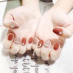圆形红色手绘毛呢珍珠全国连锁日式学校学美甲加微信:mjbyxs15美甲图片