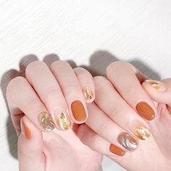 圆形橙色银色晕染水波纹全国连锁日式学校学美甲加微信:mjbyxs15美甲图片