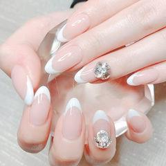 尖形白色钻法式新娘全国连锁日式学校学美甲加微信:mjbyxs15美甲图片