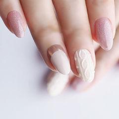 圆形白色粉色手绘毛衣纹全国连锁日式学校学美甲加微信:mjbyxs15美甲图片