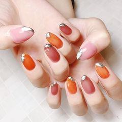 圆形红色粉色橙色手绘跳色显白美甲图片