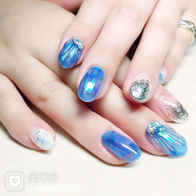 圆形蓝色银色晕染贝壳珍珠全国连锁日式学校学美甲加微信:mjbyxs15美甲图片