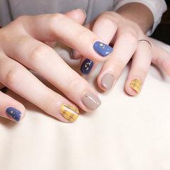 方圆形蓝色黄色裸色格纹跳色短指甲美甲图片