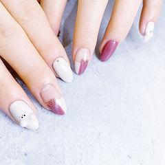 圆形白色粉色手绘新年可爱全国连锁日式学校学美甲加微信:mjbyxs15美甲图片