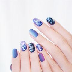 方圆形蓝色紫色竖形渐变钻磨砂全国连锁日式学校学美甲加微信:mjbyxs15美甲图片