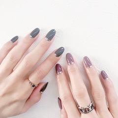 圆形灰色紫色简约美甲图片