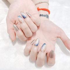 圆形蓝色棕色晕染银色全国连锁日式学校学美甲加微信:mjbyxs15美甲图片